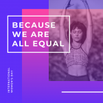 woman in a yoga pose with the words because we are all equal meme in bisexual colors
