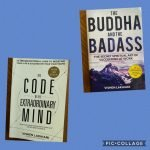 two books on a blue background. The Code of the Extraordinary Mind, The Buddha and the Badass